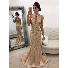 Trumpet/Mermaid Scoop Neck Sweep Train Prom Dresses With Beading Sequins