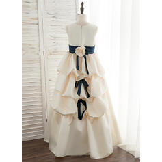 Ball-Gown/Princess Floor-length Flower Girl Dress - Satin Sleeveless Scoop Neck With Sash/Flower(s)