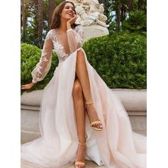 Deep V Neck A-Line/Princess Wedding Dresses Tulle Appliques Lace Long Sleeves Sweep Train