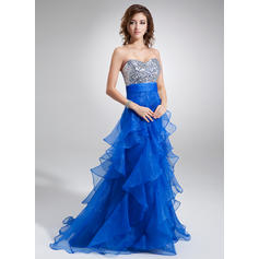 A-Line/Princess Sweetheart Sweep Train Prom Dresses With Cascading Ruffles (018004862)