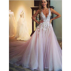 Ball-Gown Deep V Neck Chapel Train Wedding Dresses With Appliques (002144883)