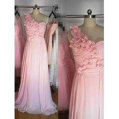 A-Line/Princess Chiffon Bridesmaid Dresses Beading Flower(s) One-Shoulder Sleeveless Floor-Length