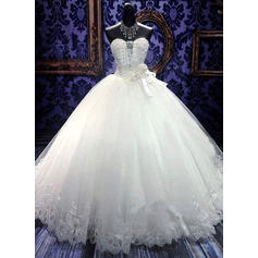 Ball-Gown Sweetheart Floor-Length Wedding Dresses With Sash Beading Flower(s) Bow(s) (002148236)