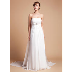 Empire Chiffon Sleeveless Strapless Watteau Train Wedding Dresses (002000563)