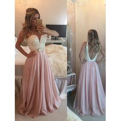 A-Line/Princess Sweetheart Floor-Length Prom Dresses With Beading Bow(s) (018210329)