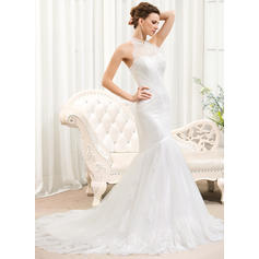 Delicate Halter Trumpet/Mermaid Wedding Dresses Court Train Tulle Lace Sleeveless (002210567)