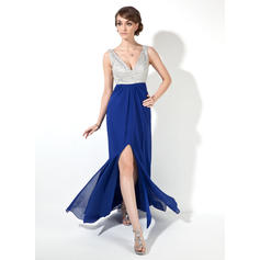 A-Line/Princess Floor-Length Prom Dresses V-neck Chiffon Sleeveless (018005095)
