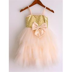 A-Line/Princess Straps Knee-length With Bow(s) Tulle/Sequined Flower Girl Dresses (010211902)