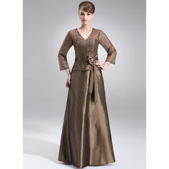 A-Line/Princess Taffeta 3/4 Sleeves V-neck Floor-Length Zipper Up Mother of the Bride Dresses (008211205)