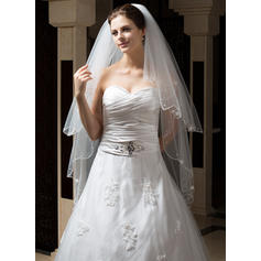 Waltz Bridal Veils Two-tier Classic With Pearl Trim Edge/Scalloped Edge With Satin Flower/Faux Pearl Wedding Veils