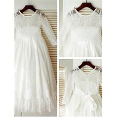 A-Line/Princess Scoop Neck Ankle-length With Bow(s) Lace Flower Girl Dresses