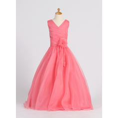 A-Line/Princess Floor-length Flower Girl Dress - Organza Sleeveless V-neck With Flower(s) (010007398)