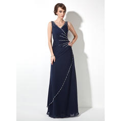 A-Line/Princess V-neck Floor-Length Evening Dresses With Ruffle Beading Sequins (017020681)