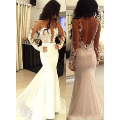 Trumpet/Mermaid Scoop Neck Sweep Train Satin Prom Dresses With Appliques Lace
