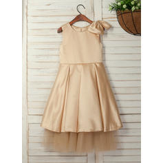 A-Line/Princess Tea-length Flower Girl Dress - Satin Sleeveless Scoop Neck With Bow(s)