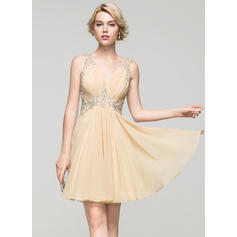 A-Line/Princess V-neck Short/Mini Chiffon Homecoming Dresses With Ruffle Lace Beading Sequins