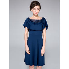 A-Line/Princess Jersey Short Sleeves Cowl Neck Knee-Length Zipper Up at Side Mother of the Bride Dresses (008210524)