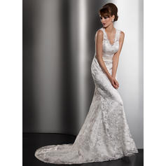 Trumpet/Mermaid Sweetheart Court Train Wedding Dresses With Bow(s) (002196885)