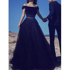 A-Line/Princess Off-the-Shoulder Floor-Length Tulle Prom Dresses With Beading