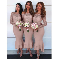 Sheath/Column Off-the-Shoulder Asymmetrical Bridesmaid Dresses With Lace