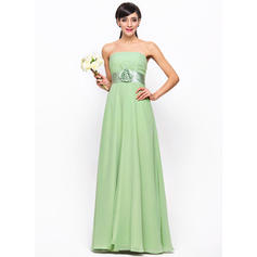 Empire Chiffon Bridesmaid Dresses Ruffle Flower(s) Strapless Sleeveless Floor-Length