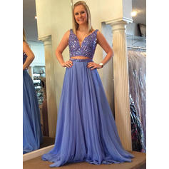 A-Line/Princess Chiffon Prom Dresses Beading V-neck Sleeveless Floor-Length (018210331)