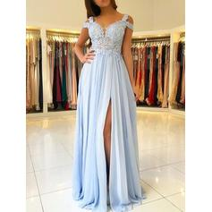 A-Line/Princess Off-the-Shoulder Floor-Length Chiffon Evening Dresses With Appliques Lace