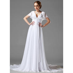 A-Line/Princess Sweetheart Chapel Train Wedding Dresses With Ruffle Beading Appliques Lace (002000687)