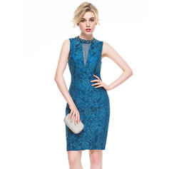 Sheath/Column Scoop Neck Knee-Length Lace Cocktail Dress With Beading Sequins (016081110)