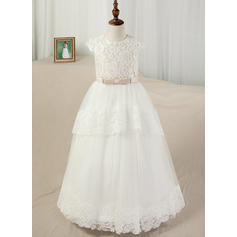 Ball Gown Scoop Neck Floor-length With Sash/Appliques Satin/Tulle/Lace Flower Girl Dresses