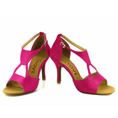 Women's Latin Heels Satin With Buckle Hollow-out Dance Shoes