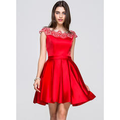 A-Line/Princess Scoop Neck Short/Mini Satin Homecoming Dresses With Lace (022214041)