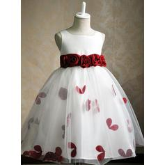 Luxurious Scoop Neck Ball Gown Flower Girl Dresses Knee-length Satin/Tulle Sleeveless
