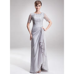 A-Line/Princess Chiffon Lace 1/2 Sleeves Scoop Neck Asymmetrical Zipper Up Mother of the Bride Dresses (008005621)