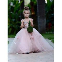 Ball Gown Square Neckline Court Train With Flower(s) Tulle Flower Girl Dresses (010145232)