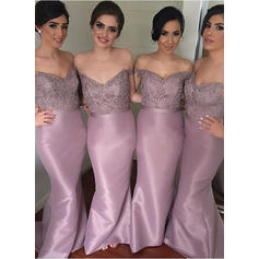 Sheath/Column Taffeta Lace Bridesmaid Dresses Beading Sequins Off-the-Shoulder Sleeveless Sweep Train (007144955)
