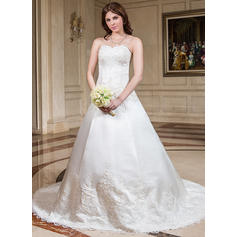 Ball-Gown Sweetheart Chapel Train Wedding Dresses With Lace Beading
