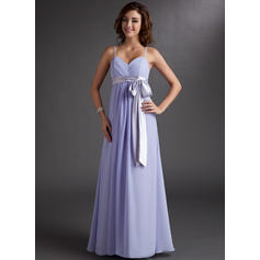 Empire Sweetheart Floor-Length Bridesmaid Dresses With Ruffle Sash Bow(s) (007000843)