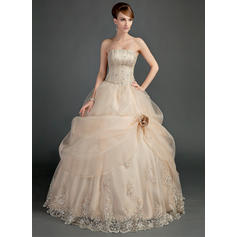 Princess Strapless Ball-Gown Wedding Dresses Floor-Length Satin Organza Sleeveless (002196866)