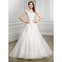 Scoop A-Line/Princess Wedding Dresses Tulle Lace Bow(s) Sleeveless Court Train (002056944)