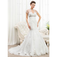 Trumpet/Mermaid Scoop Cathedral Train Wedding Dresses With Ruffle Beading Appliques Lace Sequins (002210574)