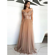 A-Line/Princess Off-the-Shoulder Floor-Length Tulle Evening Dresses With Appliques Lace