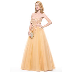 Ball-Gown Sweetheart Floor-Length Prom Dresses With Appliques Lace Flower(s) (018075891)