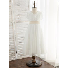 A-Line Tea-length Flower Girl Dress - Tulle Short Sleeves V-neck With Sash/Sequins