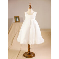 A-Line/Princess Knee-length Flower Girl Dress - Organza Sleeveless Square Neckline With Lace