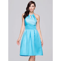 A-Line/Princess Satin Bridesmaid Dresses Ruffle Bow(s) Halter Sleeveless Knee-Length