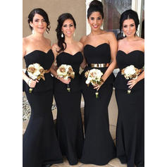 Trumpet/Mermaid Sweetheart Floor-Length Bridesmaid Dresses With Cascading Ruffles
