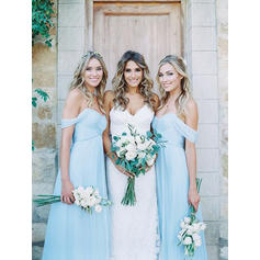 A-Line/Princess Chiffon Bridesmaid Dresses Ruffle Off-the-Shoulder Sleeveless Floor-Length (007145036)