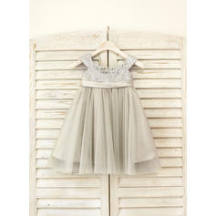 Glamorous Straps Empire Flower Girl Dresses Knee-length Tulle/Sequined Sleeveless
