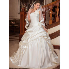 Ball-Gown Satin Sleeveless One Shoulder Court Train Wedding Dresses (002000654)